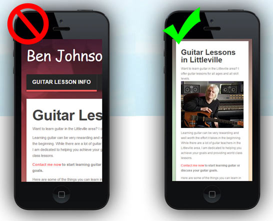 A mobile-ready website is a must for guitar teachers