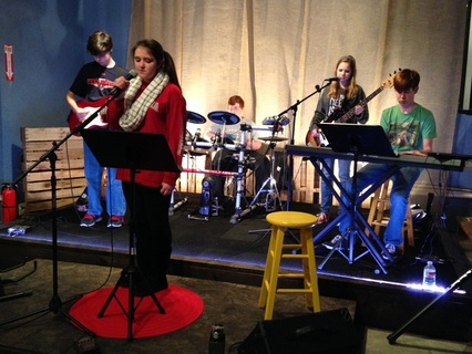 Student stage practice at stickandstrum